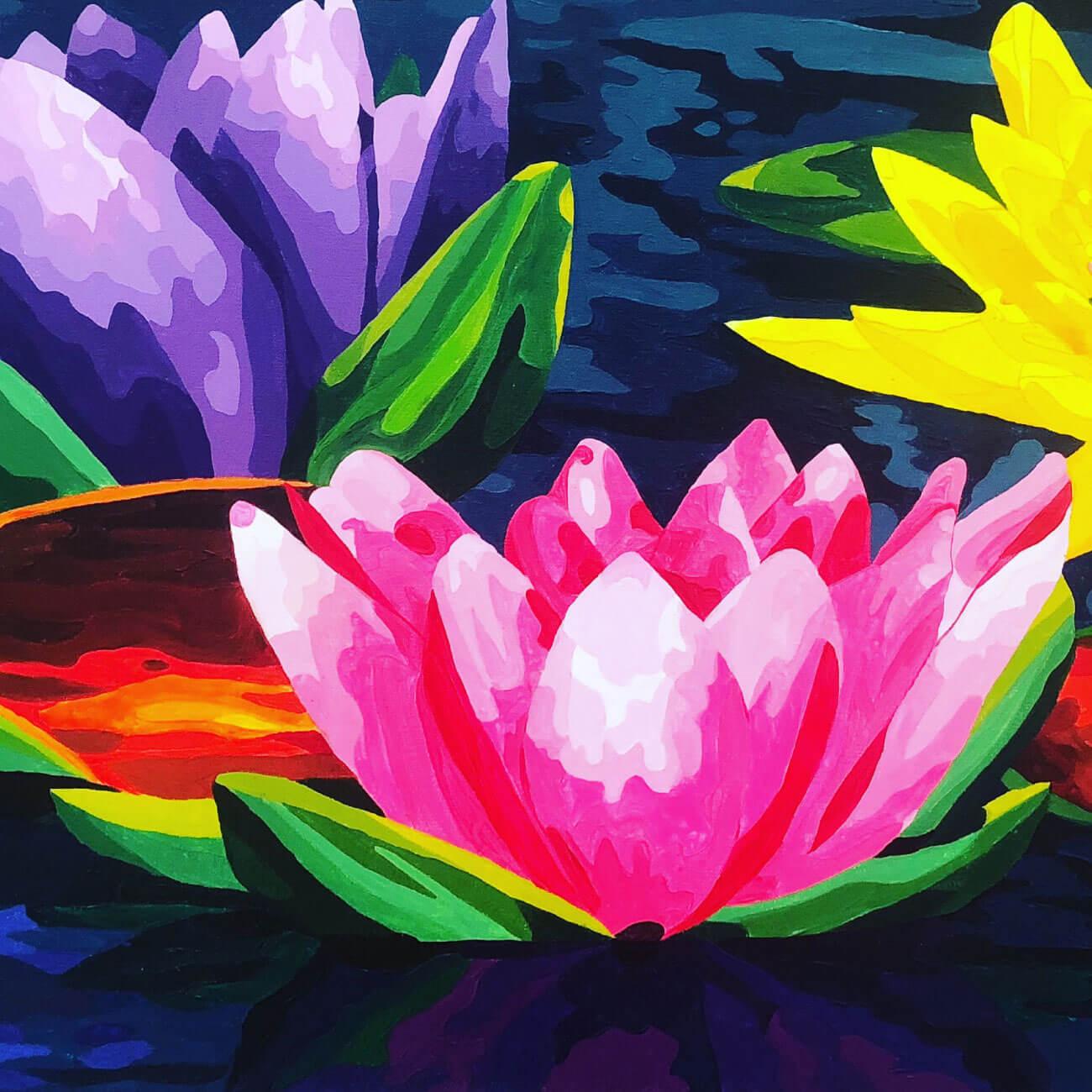 Pintura de flores agua para tres