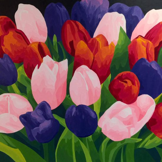 Pintura de flores en óleo sobre lienzo - colores nuevos