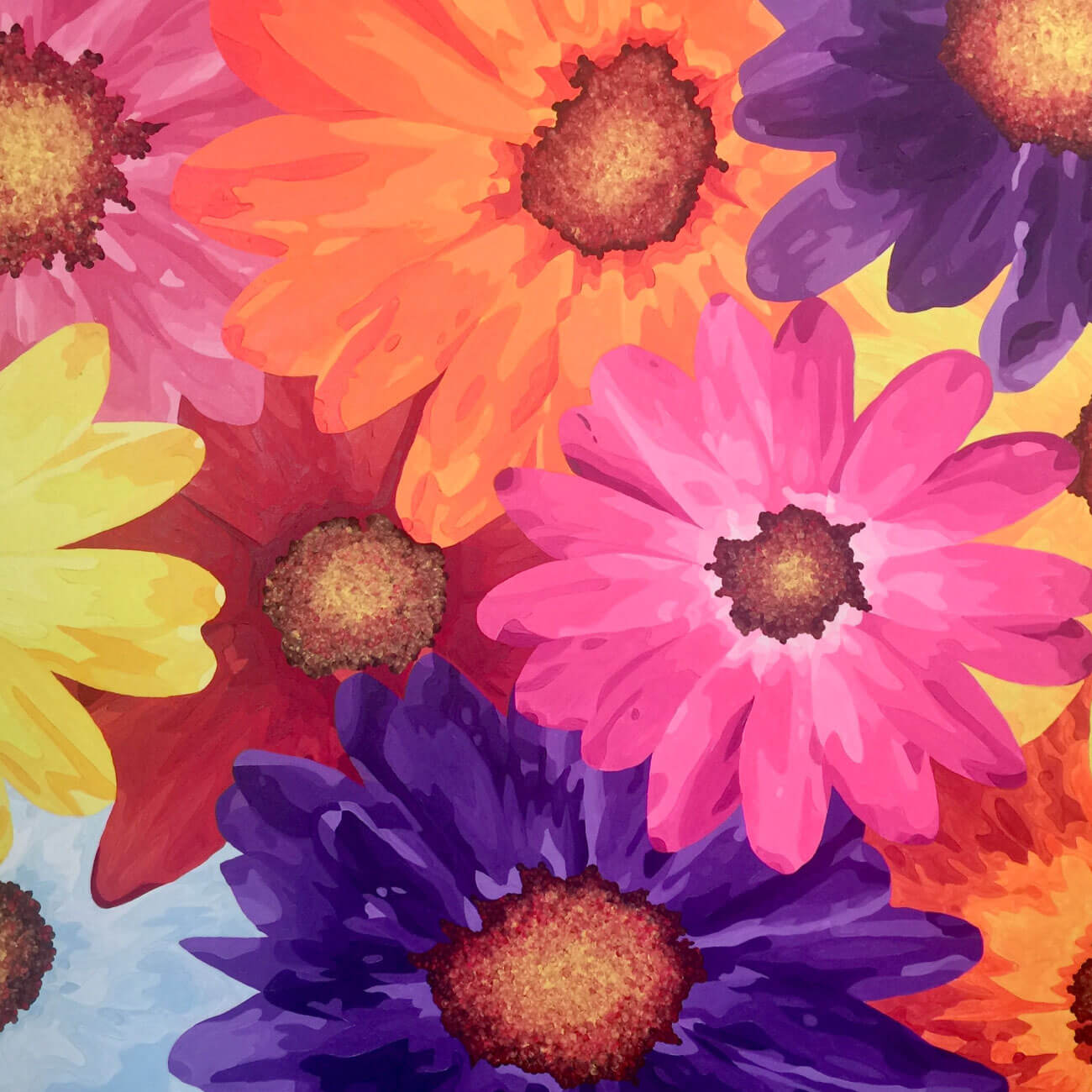 Pintura al oleo de flores. Promesas
