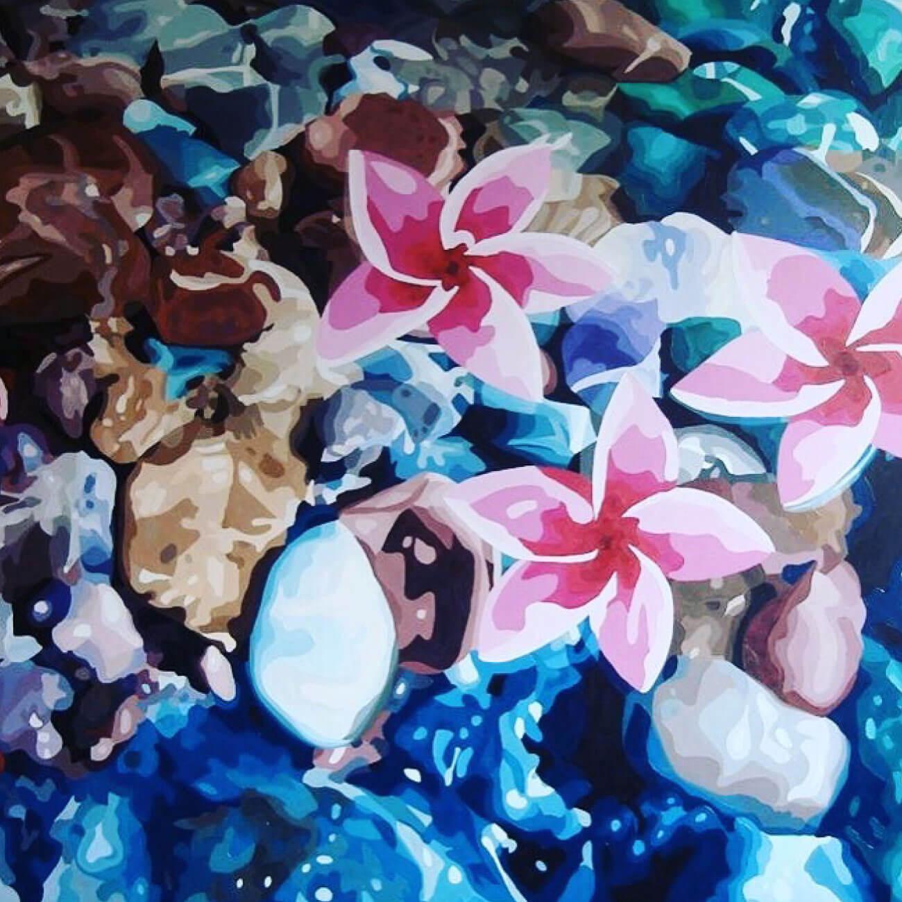 río de piedra pintura